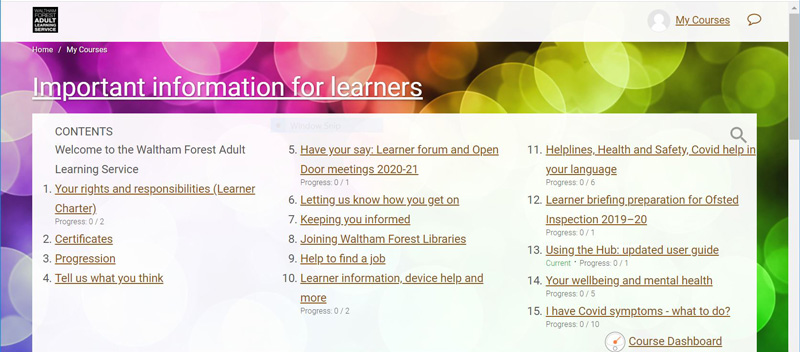 Screenshot of the Important information of the learners area on the Learning Hub