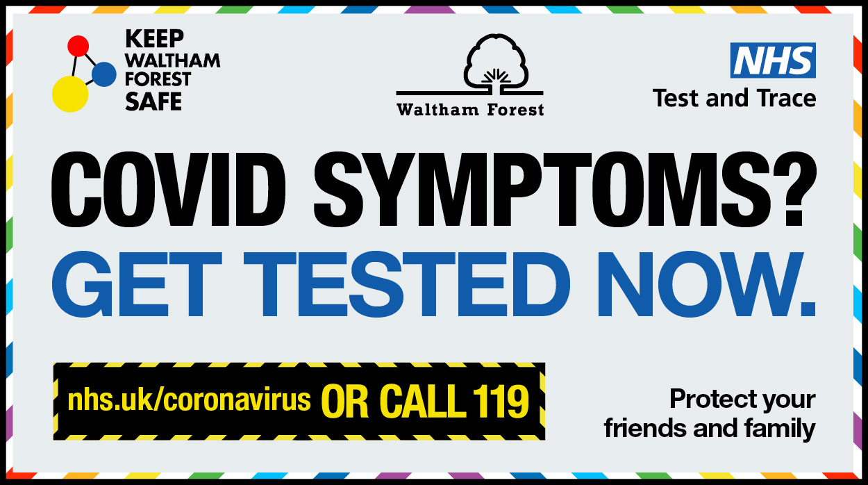 Test and trace campaign poster: Covid symptoms? Get tested now. More information is in the article.